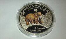 5oz .999 SILVER BULLION COIN: COOK ISLANDS-GRIZZLY 'YELLOW STONE NATIONAL PARK'.
