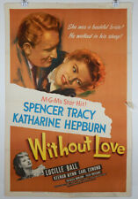 WITHOUT LOVE - 1945 ORIGINAL MOVIE POSTER - SPENCER TRACY - KATHERINE HEPBURN