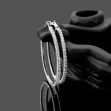 Big~Dazzling~9k White Gold Filled~CZ~Hoop Earrings~60mm x 3mm