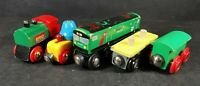 Brio Train with Bell Car Green Cargo and a couple of Trucks