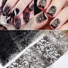 10 Sheet Black Lace Nail Art Foil Set Flower Floral DIY Nail Transfer
