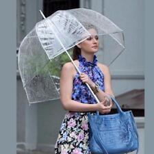 Transparent Long Handle Women Umbrella Semi-automatic Portable Clear Umbrellas