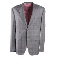 NWT $4295 OXXFORD Gray and Pink Check Cashmere-Silk Sport Coat 42 R Type-A