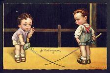 cpa HUMOUR ILLUSTRATION Signée COLOMBO Enfants EPÉE ESCRIME Sword Fencing