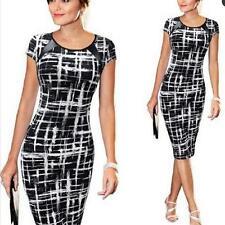 Slim Sketch Black Women Pencil Office Dresses Full Sleeves Mid-Calf Plus Size JJ