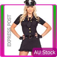 Ladies Woman Black Cop Police Uniform Party Fancy Dress Costume Outfit