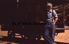 KODACHROME 35mm Slide Handsome Man Railroad Train Car Conductor Fashion 1977!!!