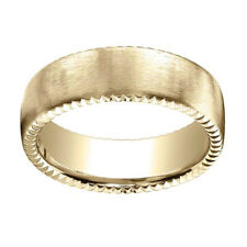 18k Yellow Gold 7.5mm Comfort Fit Rivet Coin Edging Carved Band Ring Sz 9