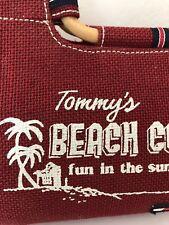 Tommy Hilfiger Bag Burlap Bamboo Burgundy Beach Vomber Fun Hip Summer Sun Gift