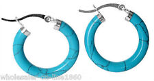 New Women's 925 sterling silver Blue Turquoise Leverback Ring Earrings