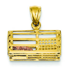 14k Two-tone Gold Polished 3-dimensional Lobster Trap Pendant