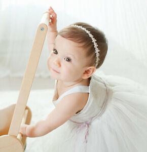 Baby Girls Princess Lace Hairband Infant Flowers Diamond Pearl Elastic Headband