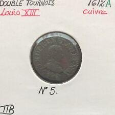 DOUBLE TOURNOIS - LOUIS XIII - 1612A - Monnaie en Cuivre // TTB