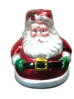 Dept 56 Mercury Glass Handblown Santa Candle Holder Double Sided Center piece.