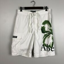 ABERCROMBIE & FITCH Mens Polyester Swim Cargo Short Trunks Green White Floral