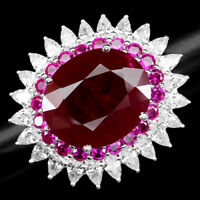PIGEON BLOOD RED RUBY OVAL 29.20 CT. SAPPHIRE 925 STERLING SILVER RING SZ 6.75