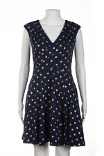 MAEVE ANTHROPOLOGIE Polka Dot Dress XS Blue Gold Sleeveless Pleated A Line Wrap