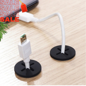 Desk Cord Grommet Silicone Cable Wire Hole Cover Office Table White Black SALE