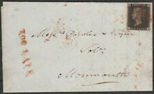 1840 SG2 1d BLACK PLATE 10 RED CROSS 3 MARGINS ON COVER ROSS TO MONMOUTH (IB)