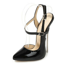 Women Patent Leather Super High Heels Sexy Slingback Stilettos Pointed Toe Shoes