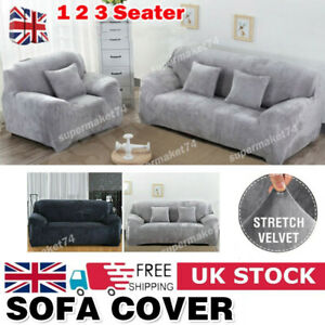 1-3 Seater Easy Fit Stretch Sofa Covers Protector Soft Couch Cover Plush Velvet