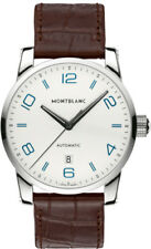 Montblanc Timewalker Automatic Silver Dial Brown Leather Mnes Watch 110338