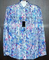 Bugatchi Men's Multi-Color Stripe Cotton Button Up Shirt Sz XL Shaped Fit $149