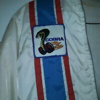 Vtg Ford Mustang Cobra Shelby Racing White Jacket Size L Fleece Lined Stripe