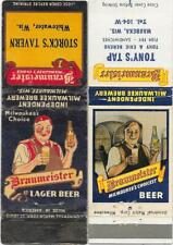 2 Braumeister Beer Matchbooks -Whitewater WI-Storck's Tavern -Waubeka-Tony's Tap