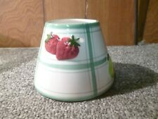 Fruit Jar Candle Shade Topper Apples,Strawberries,Grapes,Pears Green Stripes