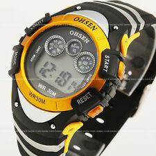 OHSEN Mens Student 7 Modes Lights Yellow Case Date Stop Digit Quartz Wrist Watch