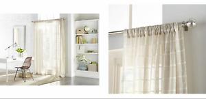allen + roth Kasa 52''X84 Tan/White Stripe Polyester Sheer Single Curtain Panel