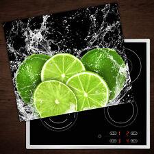Herd-Abdeckplatte Glas Ceranfeld-Abdeckung Deko Limetten Wasser 2x30x52 cm
