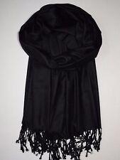 Viskose Schal für Männer - Schwarz - Unifarben - weiche, glatte Qualität