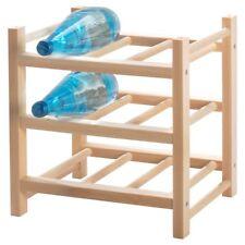 Ikea HUTTEN Solid Wood Wine Rack 9 Bottle Timber Wooden Storage Organiser Stand