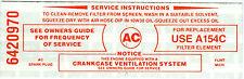 1965-67 PONTIAC FIREBIRD/TEMPEST AIR CLEANER SERVICE INSTRUCTIONS  DECAL (RED)