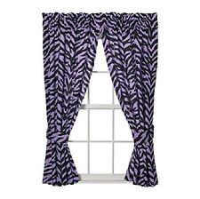 """Two (2) Purple Zebra - SAFARI - Valance/Drape Sets (Drape Length 63"""")"""