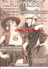 "CARMEN Sheet Music ""Carmen"" Charlie Chaplin 1920 RARE"
