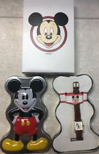 Disney Time Works Mickey Mouse Watch Rectangle Gold-tone Original Tin & Box USED