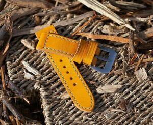 Handmade mustard yellow leather 24mm strap with GPF buckle fits panerai watch