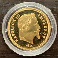 NAPOLÉON III REPRODUCTION EN ARGENT PLAQUÉ OR DU 100 FRANCS 1861 - BE