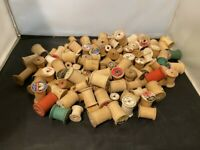 LOT OF 125 TRUE VINTAGE WOOD WOODEN EMPTY SEWING THREAD SPOOLS ASSORTED SIZES