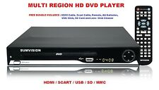 MULTI REGION HD 1080p UPSCALING DVD PLAYER HDMI SCART USB SD Slots NEW + Extras