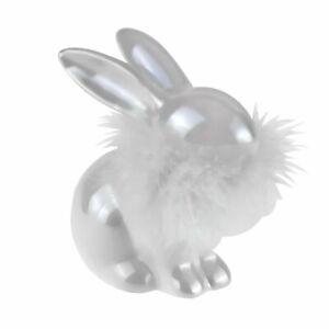 Hase weiß sitzend Federboa Figur Ostern Osterhase Keramik