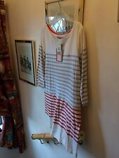 New Juicy Couture Cream Grey Red Contrast Stripe Short Tunic Dress, Large