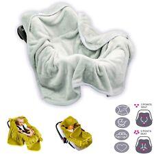 Baby Car Seat MICROFIBER WRAP BLANKET COSY TOES COVER HOODIE Light Grey