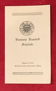 Antique 1922 Bowdoin College Baseball Pocket Schedule Vintage Maine Early Old