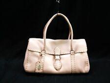 Authentic FENDI Pink Ring Bag/Selleria 8BR442 Leather Handbag