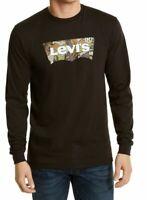 Levi's Mens T-Shirt Black Size XL Camo Logo L/S Graphic Tee Crewneck $34 169