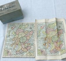 G W BACON 1920 ANTIQUE WOODEN MAP JIGSAW PUZZLE BOXED 70 PIECES SCOTLAND ENGLAND